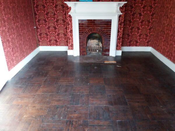 Untreated Pine wood block floor in Swanage.